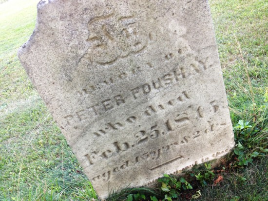 Peter Foushay died on February 25th, 1815. He walked this earth for 45 years and 2 days.